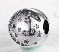 925 Sterling Silver Charm Twinkling Night Clip w/Clear Clear CZ Accent