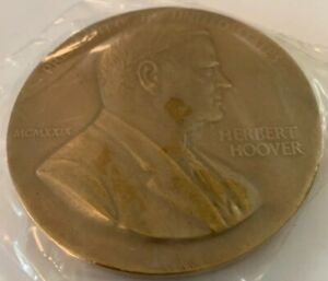 "Bronze Presidential US Mint 3"" High Relief Peace Medal - Herbert Hoover"