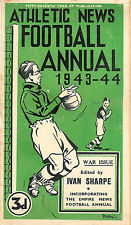 ATHLETIC NEWS FOOTBALL ANNUAL 1943 - 1944, RARE WARTIME ISSUE