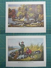 Life In The Woods Wild Duck Shoot Currier & Ives Vintage Antique Art Print 1952
