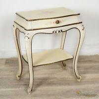 Tavolino con cassetto laccato comodino dipinto in stile veneziano mobile antico