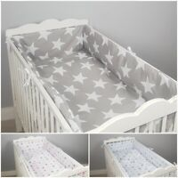 ALL ROUND BUMPER padded filled straight for cot / cot bed GREY STARS CHEVRON DOT