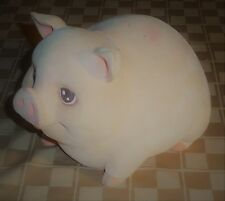 Vintage Piggy Bank - Fuzzy Hard Plastic Fat Pink Pig - 8""