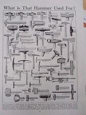 Tipos de herramientas Martillo Antiguo Vintage Retro Impresión ingenieros minero Mazo Trineo Etc