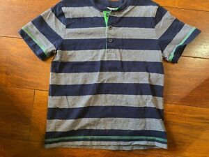 boys HANNA ANDERSSON SHIRT 120 navy white striped SHORT SLEEVE casual SIZE 6/7