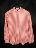 J Crew Sz 6 Pink White Gingham Plaid Classic Fit Boy Shirt Cotton Long Sleeve sm