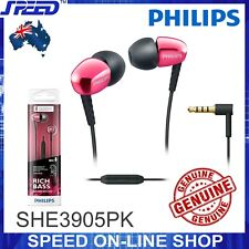 PHILIPS SHE3905PK Headphones Earphones with Mic - Rich Bass - PINK - GENUINE