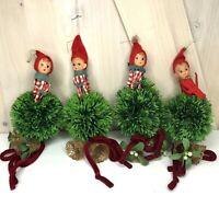 4 Vintage Napco Mistletoe Knee Hugger Elf Christmas Hanging Decoration Japan