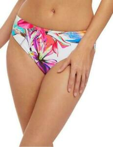 Fantasie Bikini Brief Paradise Bay M 12 14 White Floral Mid Rise Bottom 6479