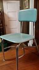 vTg Heywood Wakefield Child School Chair Aqua Chrome Danish Mid Century Woodite