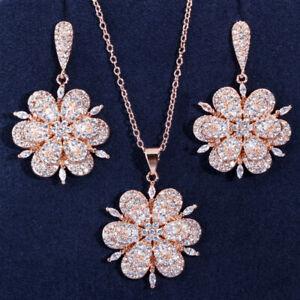 Lady European Luxury Flower Jewelry Set Rose Gold Plated Silver Pendant Earrings