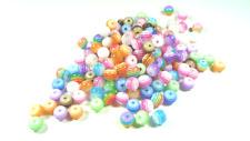 50 Perles rondes 6mm Rayées Multicolores en Résine Acrylique