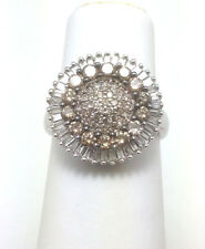 14K White Champagne Cluster Diamond Ring 1.5ct