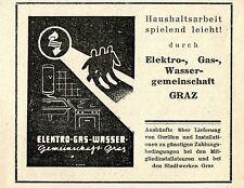 Elektro-Gas-Wassergemeinschaft Graz Historische Reklame von 1949