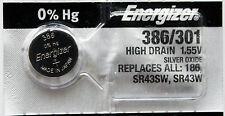 2PC Energizer 386 301 Silver Oxide SR43SW, SR43W, SR43 - Made in Japan