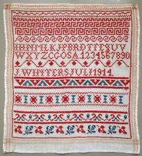 1914 Antique Dutch Red Cross Stitch Sampler Red Blue Alphabet Borders Needlework