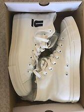 undercover japan men's White Canvas Hi Top Logo Sneakers