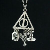 Deathly Hallows Charms Pendant Necklace Triangle Silver Harry Potter Necklace