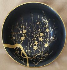 """Asian Decorative Black and Gold Painted Wooden Bowl 9.5"""" X 3.5"""" Deep"""