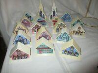 18 Vintage ALPINE VILLAGE PLASTIC CHRISTMAS LIGHT COVERS HOUSES CHURCHES SHOPS