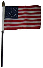 "34 Star USA Circular American 4""x6"" Flag Desk Set Table Wooden Stick Staff"