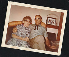 Old Vintage Photograph Older Man & Woman in Cool Outfits Sitting on Couch
