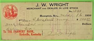 Check, from J. W. Wright, Hampton, Ky for bull & hogs for $100, 1910.