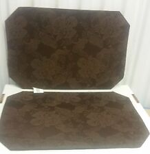 "New rare SET OF 2 DAMASK FABRIC PLACEMATS 12"" x 18"", DARK BROWN color w/ design"