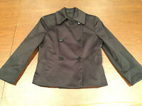 THEORY Womens Size 0/Extra Small Cotton Blend BLACK SHORT CROP BLAZER JACKET EUC