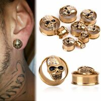 1Pair 8-25mm Crystal Skull Ear Plugs Flesh Tunnel Gauges Stretcher Piercing Punk
