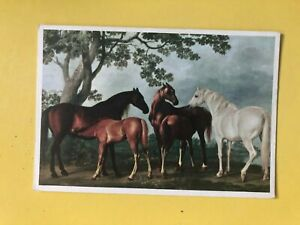 MARES & FOALS IN A LANDSCAPE BY GEORGE STUBBS ART POSTCARD ANIMALS HORES
