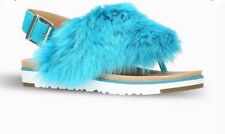 Ugg Faux Fur, leather Sandles Blue Size 7 NEW