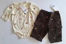 NWT Gymboree Outdoor Whimsy 0-3 Embroidered Hedgehog Mushroom Bodysuit & Pants