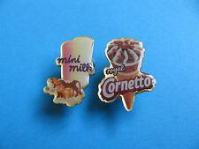 Cornetto & Mini Milk Ice Cream / Lolly pin badges. Unused.