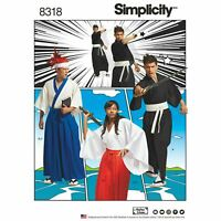Simplicity 8318 Kimono Robe Hakama Pants Costume Sewing Pattern  XS S M L XL NEW