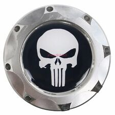 Engine Oil Fuel Filler Billet Cap Tank Cover Aluminum Silver Punisher Skull Logo