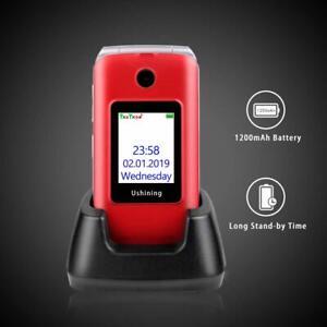 Unlocked Senior Flip Big Button Cell Phone Hearing Aids Dual SIM T-Mobile AT&T