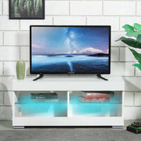 39'' TV Cabinet Stand Unit  High Gloss Console Table w/ LED Shelves Furniture
