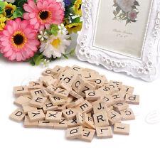 100x Wooden Scrabble Tiles Black Alphabet Letters & Number Wood Craft Board Game