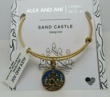 Alex and Ani Rafaelian Gold Sand Castle Charm Bracelet Bangle Summer Beach