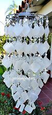 SOLAR CAPIZ SHELL WINDCHIMES/CHANDELIER WHITE SQUARE CAPIZ  WITH SOLAR LIGHT
