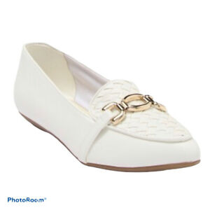 NEW Anne Klein iFlex White Sz 8.5 Loafer Octagon Bit Flats Pointed toe AKOLMAN
