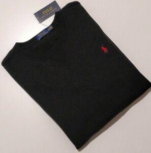 POLO Ralph Lauren Mens Fleece Crew Neck Sweatshirt Jumper, BLACK, Size XL/TTG