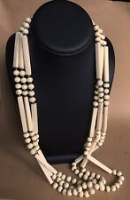 Vintage Statement Long Celluloid 3 Strand Off White Bead Necklace