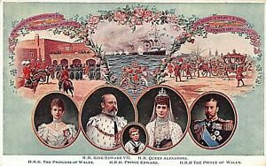 POSTCARD ROYALTY KING EDWARD VII & QUEEN ALEXANDRA WITH FAMILY