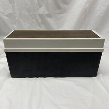 Vintage Plastic 8 Track Tape Storage Case Black White Wood Grain Holds 12