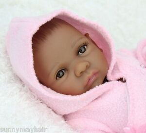 11'' Reborn Baby Alive Dolls African American Baby  Realistic Silicone Model Toy