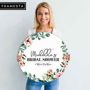 Bridal Shower Decorations Round Welcome Sign (60x60 cm)