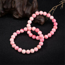 Natural Gemstone Pink Queen Conch Shell Round Beads Stretch Bracelet 6mm~12mm