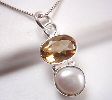 Very Small Cultured Pearl and Faceted Citrine 925 Sterling Silver Necklace